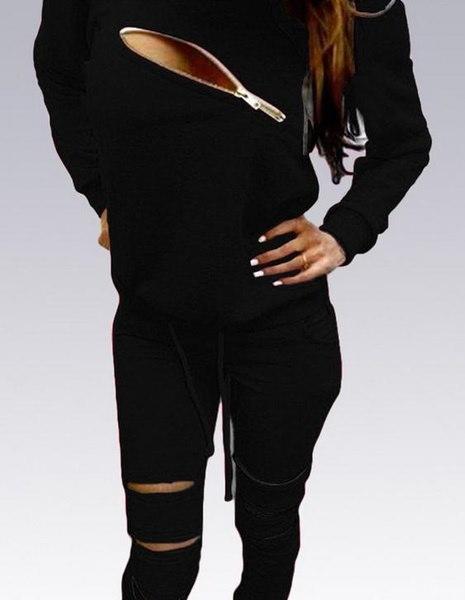 ジョギングスリーブファッションジッパー中空トラックスーツスポーツスーツO  - ネックロング女性の女性のパーカー1Set