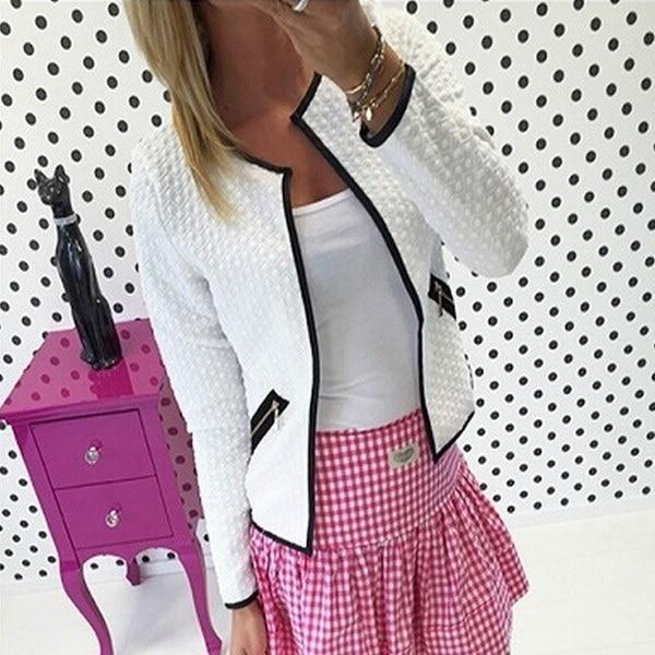 HOENホットセール女性ファッションピュアカラーポケットファスナーカジュアルジャケットコート3色