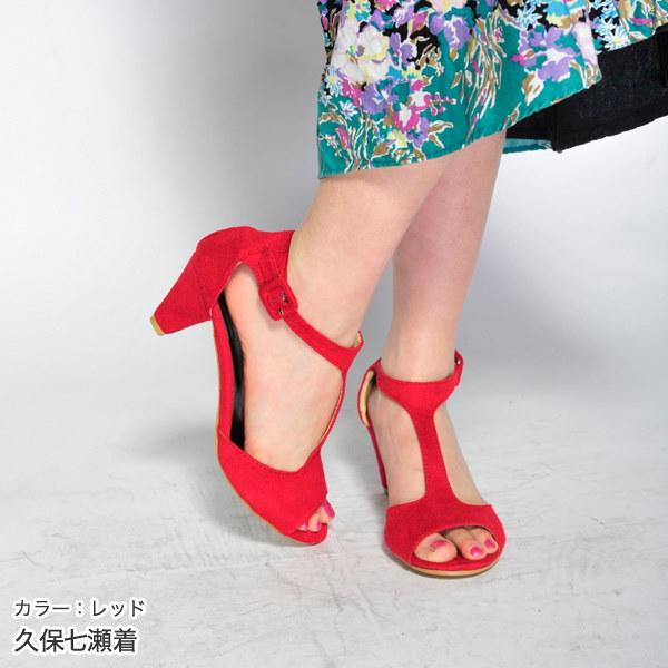 サンダル レディース 靴 ヒール ローヒール アンクルベルト 安定感 履きやすい Tストラップパンプス/ハイヒール 全3色★レッド/ブラック/ピンク☆ニーズグループ