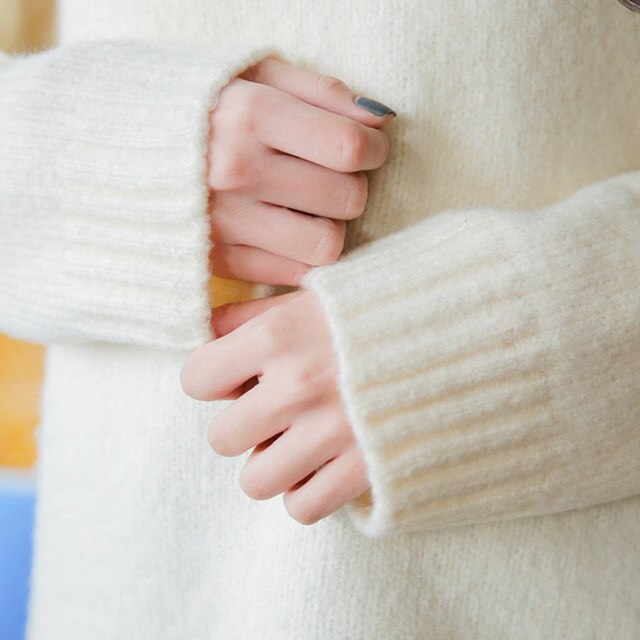 [Sonyunara] Blurred clouds kneeling knit booty pit polar twisted turtleneck pit fit knee witch knee