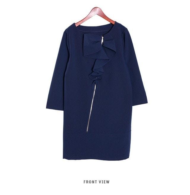 『韓国製』SELLISHOP  Ribbon frill ワンピース「大きいサイズ 大人 韓国 ファッション・結婚式・フォマール 黒 フレア 30代 40代 50代 スレンダー・Aライン,シャツ・上品