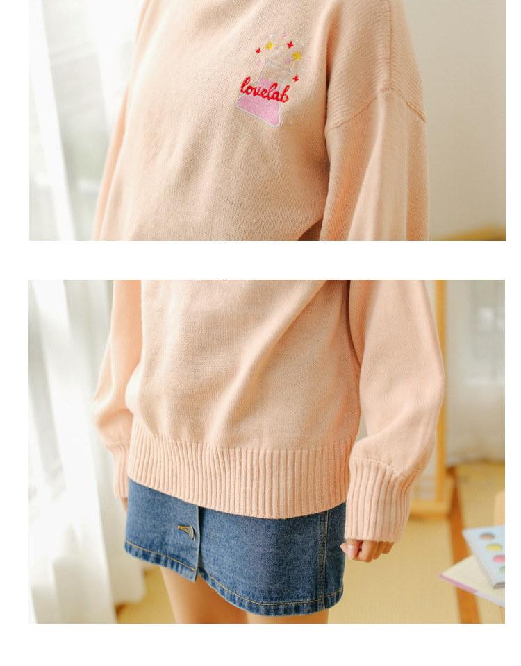 [55555SHOP]ニット 羽織り 刺繍 ハイネック ゆったり カットソー 韓国風 可愛い カワイイ 全3色