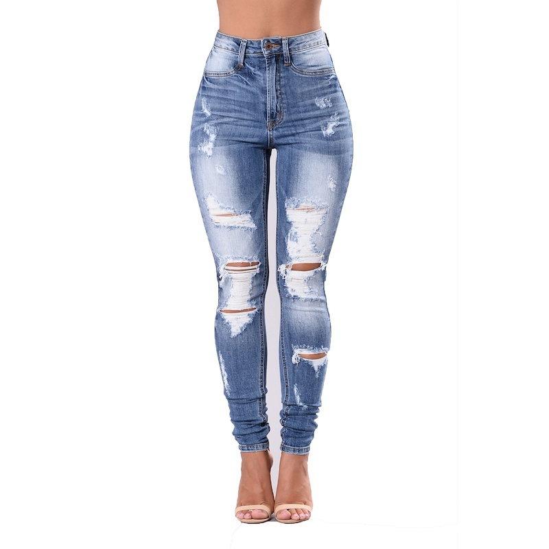New Arrive Women s Fashion Sexy High Waist Pencil Jeans Casual Blue Ripped Denim Pants Lady Long Ski