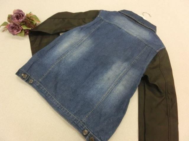 美品♪ Janiss/ジャニス 長袖 ジャケット M ブルー×ブラック デニム×レザー 異素材デザイン【中古】