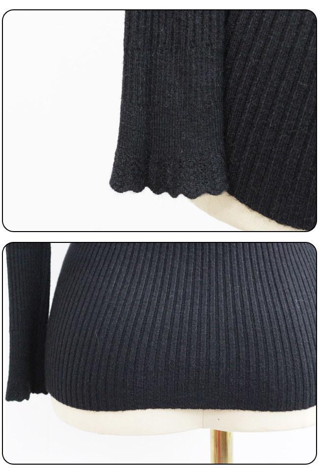 ★送料無料★モックネック リブ編み デザインニット[レディース] 韓国ファッション ワンピース バッグ リュック パーカー コート アウター カーディガン ハロウィン セットアップ トレーナー