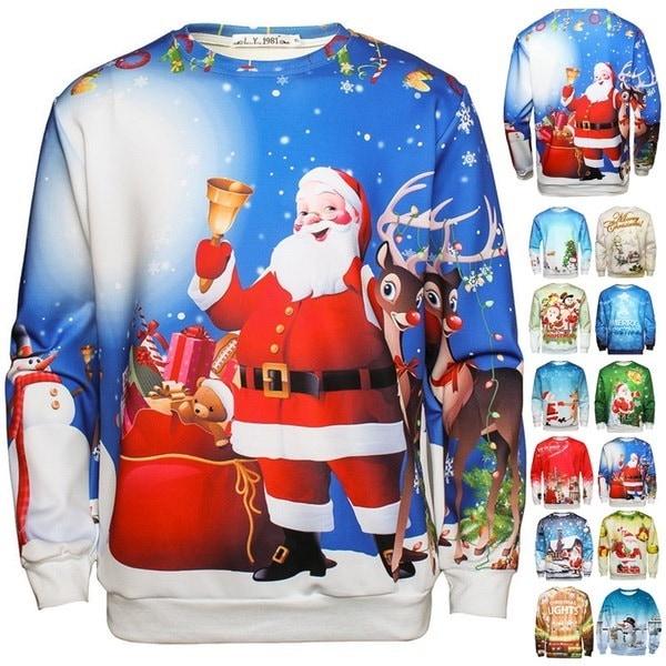 面白いプリントサンタクロースのスエットシャツ3Dクリスマススウェット男性の女性のカジュアルなパーカーファッション長いS1