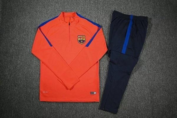 16-17長袖トレーニングスーツバルセロナサッカートレーニングスポーツスーツ(パンツ+トップス)