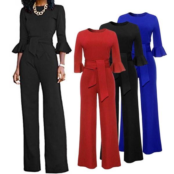 女性RompersジャンプスーツフレアスリーブOネック包帯セクシーワイドレッグロングパンツS-XL