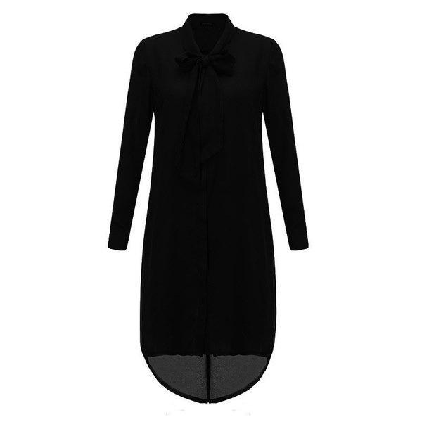 Chic Women Long Sleeve Bowknot Bandage High Low Chiffon Long Shirt Dress