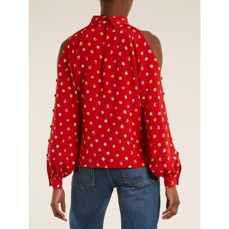 アンナ オクトーバー レディース トップス【Cut-out shoulder polka-dot crepe top】Lava-red