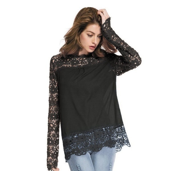 女性のシアースリーブ刺繍レースのかぎ針編みのシフォンシャツ1PC