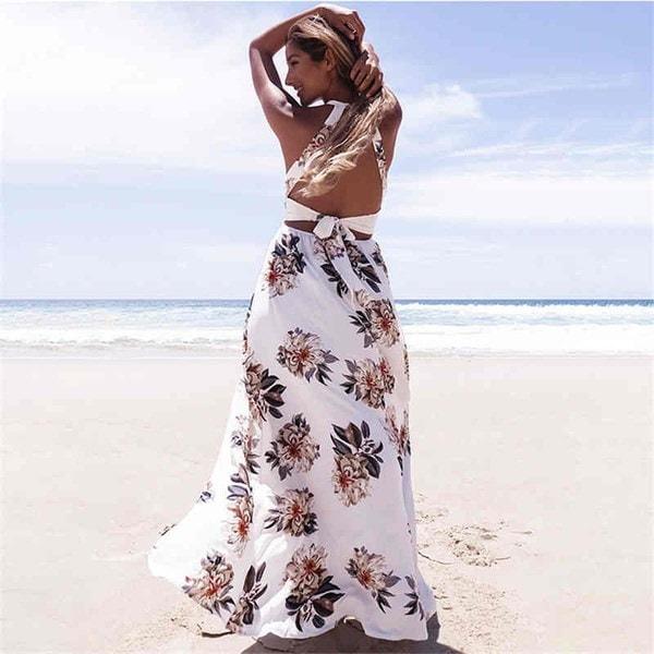 女性の夏ホルタードレスノースリーブバックレスフラワープリントハイスリットロングマキシドレス