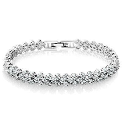 925スターリングシルバーの女性の男クリスタルダイヤモンドのブレスレットローマンスタイルのバレンタインデーのプレゼント(カラー:ホワイト)