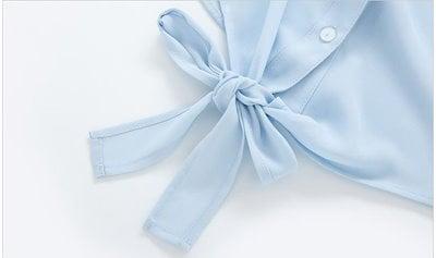 トレンド☆2018☆ シャツ 半袖 五分袖 ティアードスリーブ リボン ゆったり ポケット カジュアル