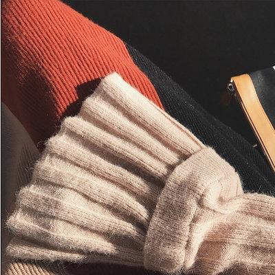 韓国ファッション オルチャン 2点セット ニット トップス スカート レディース 配色スカート リブニット セーター 長袖 アプリコット 黒 全2色 秋 冬 新作 P1690