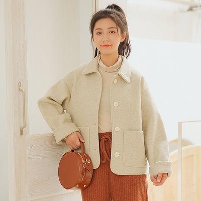 2018新しいショートコート女性春と秋の韓国語版学生 Bf 原宿ルーズ百ウインドブレーカーショートウール単列バックル