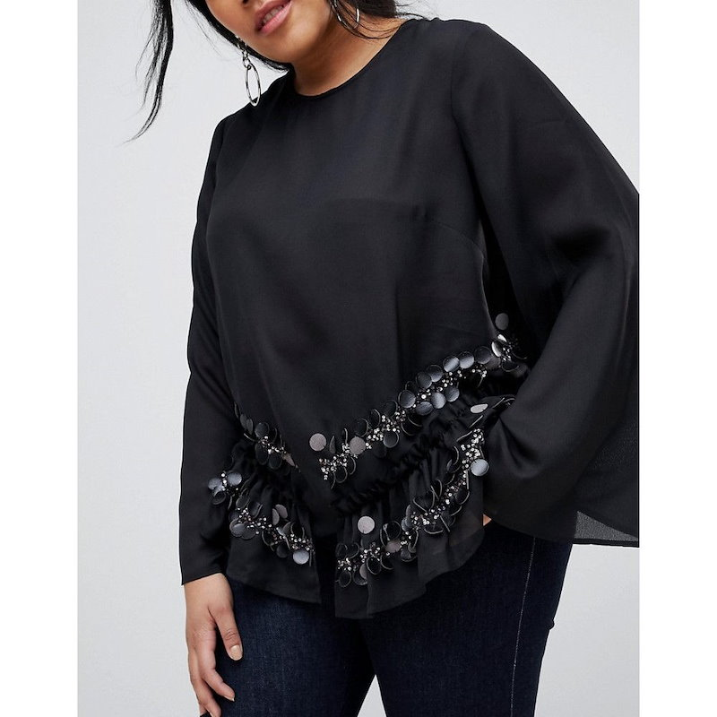 ロストインク レディース トップス【Lost Ink Plus Wide Sleeve Top With Premium Sequin Embellished Hem】Black
