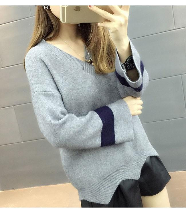 レディース 女性 韓国風 ファッション トップス ニット オーバー プルオーバー セーター カットソー ベーシック カジュアル OL フルカラー 無地 ノーカラー 抜け感 シンプル 編み糸 ワイド袖