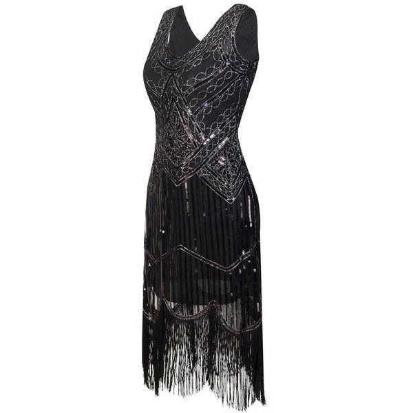 プラスサイズのセクシーなパーティードレスローブフェムメ1920sギャツビーフラッパースパンコールタッセル刺繍ミディサマードレス