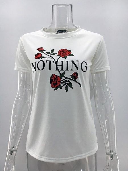 プラスサイズサマー・ナッシング・レタープリント・ローズTシャツレディース・カジュアル半袖シャツ・トップス