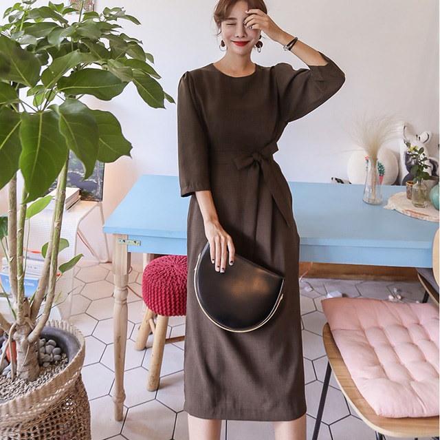 モダンなゲストルック会ルックヨプトゥイム秋リボンロングワンピースデイリールックkorea women fashion style