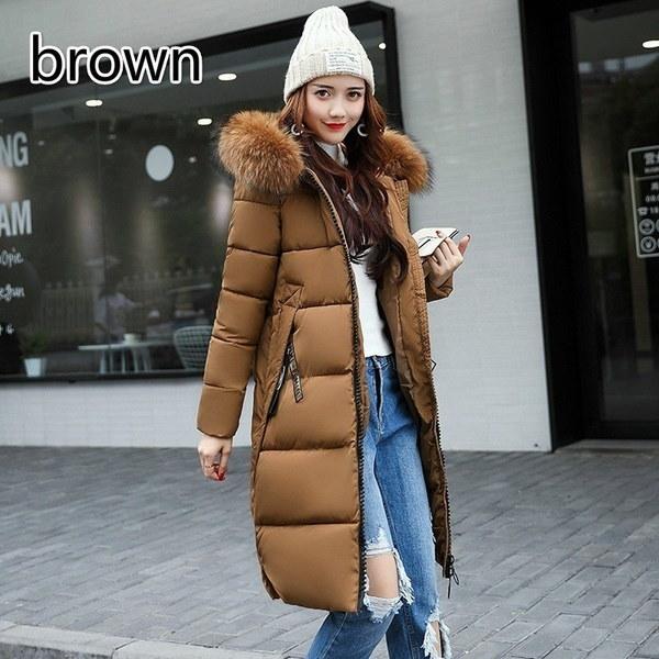 女性ロングウォームコートフォックスファーパーカーパーカー女性はダウンジャケットコットン服プラスサイズS~5