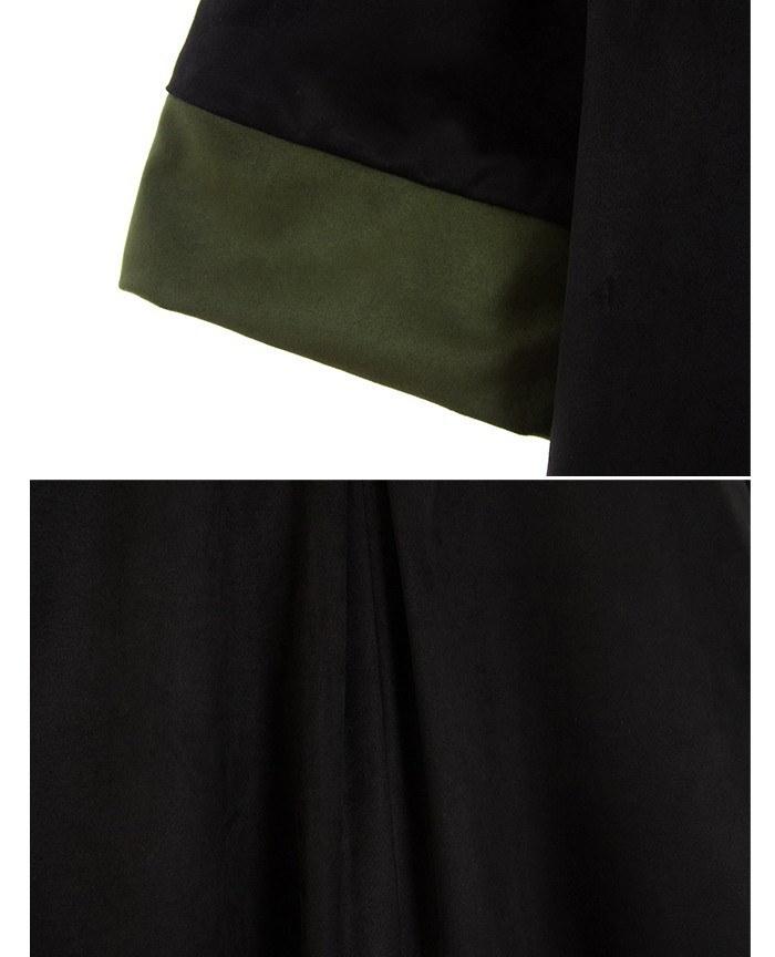 『韓国製』SELLISHOP Double suede ワンピース「大きいサイズ 大人 韓国 ファッション・結婚式・フォマール 黒 フレア 30代 40代 50代 スレンダー・Aライン,シャツ・上品・