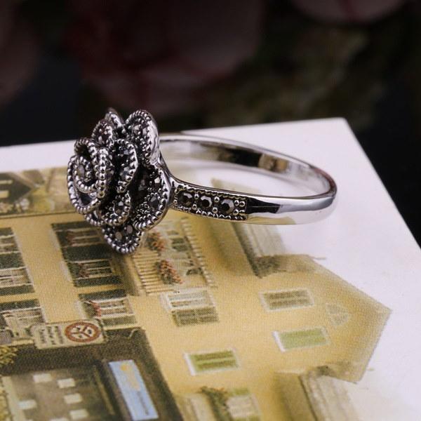 結晶ダイヤモンドの古代の方法を復元するスターリングシルバージュエリー高品質のファッション花輪