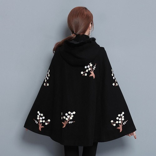 [55555SHOP]コート 刺繍 ゆったり フリル スカラップ 切替 ボタン ファイクファー ファッション カジュアル