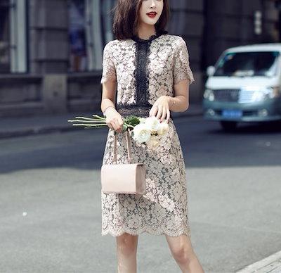 デートにもオススメ 総レース花柄ひざ丈ワンピースドレス 送料無料