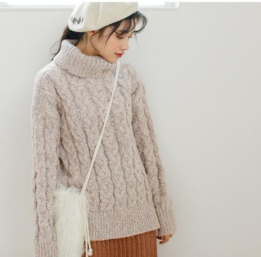 [55555SHOP]17秋冬新品 セーター タートルネック ニット 厚手 無地 フィット 伸縮性 韓国ファッション レディース セーター