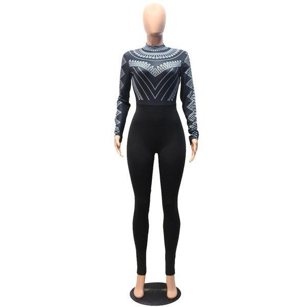 秋の女性のファッションセクシーなスリム包帯ジャンプスプリントロングロンパース