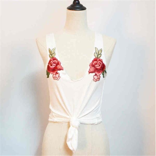 夏の女性ローズ刺繍ロングTシャツノースリーブVネックファッションオールマッチシャツ