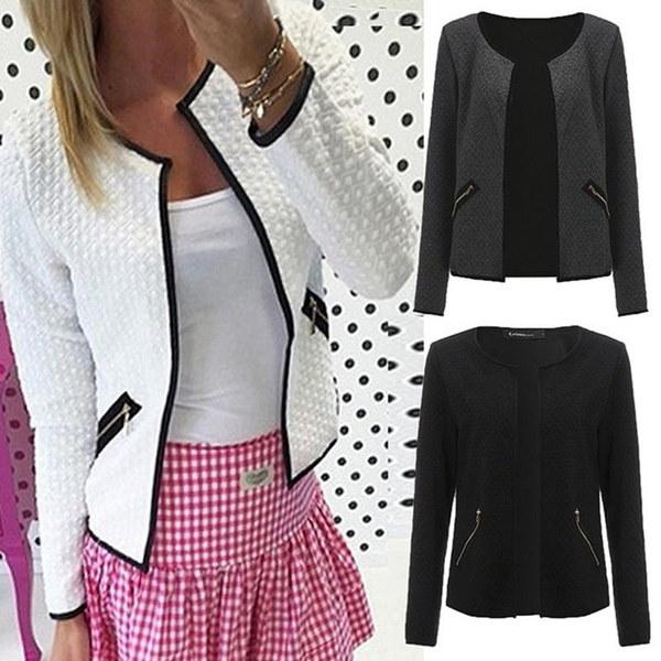 女性ピュアカラーポケットファスナーカジュアルジャケットコート3色プラスサイズ