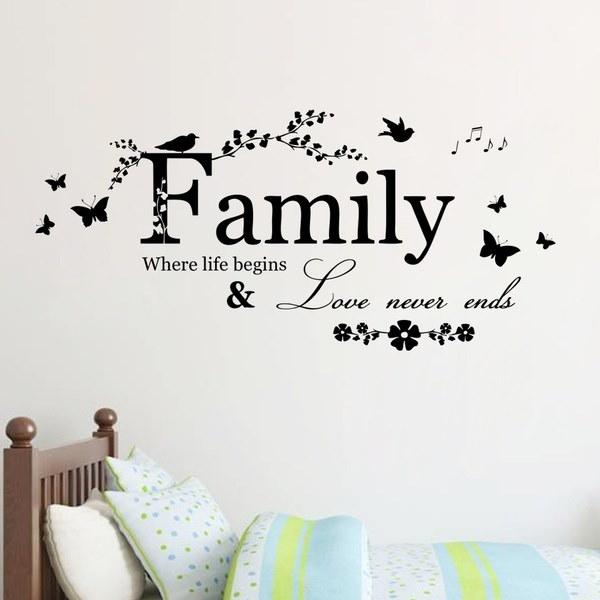 家族の壁のステッカーの家の居間の壁の装飾のステッカーの引用は決して愛は花の壁紙を終わらせない