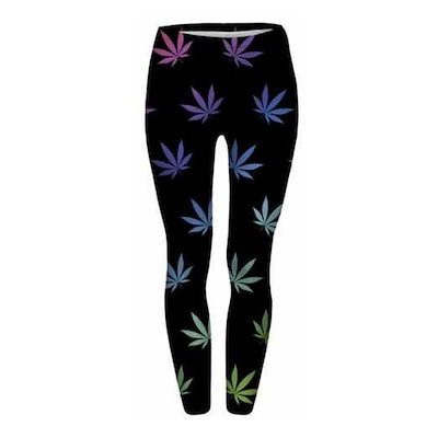 2017色の雑草は黒のレギンスを残すクリエイティブな女性のヨガ夏のファッションフィットネス通気性のレッグスセクシーな人気のスリムパンツジムランニングズボン