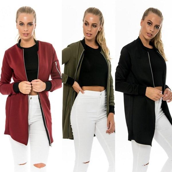 Women s Autumn Spring Vintage Stylish Long Jacket Classic Zipper Up Biker Long Sleeve Plus Size Coat