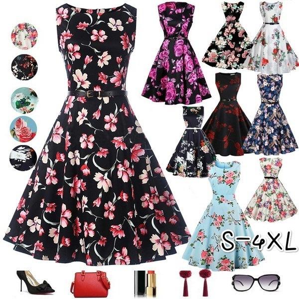 女性夏50s 60sレトロヴィンテージスタイル花プリントカクテルパーティースイングガーデンシックなボールガウンD
