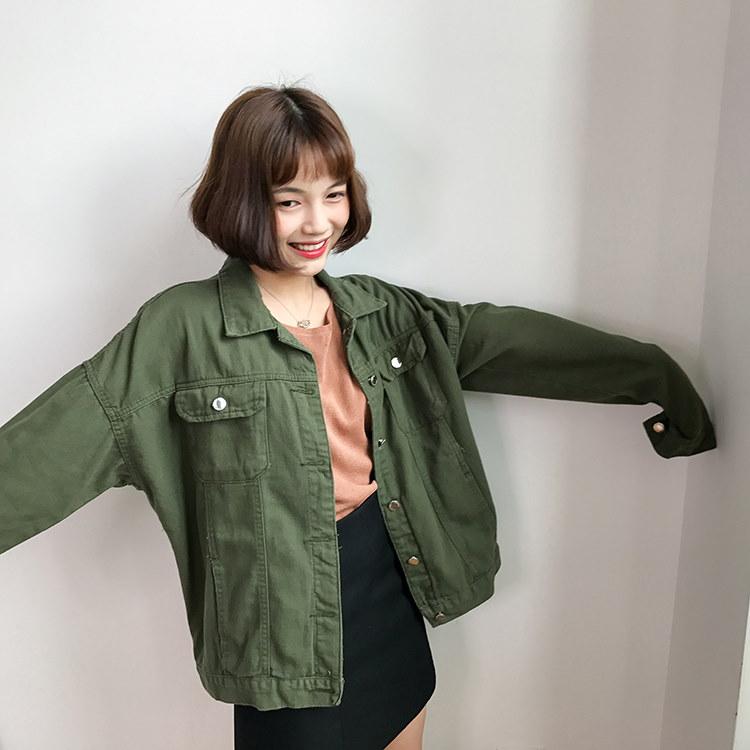 45678(韓国ファッション)大人可愛い♪レトロなシングルブレスト 長袖デニムジャケット ルーズカジュアル ソリッドカラー ジャケットシャツ