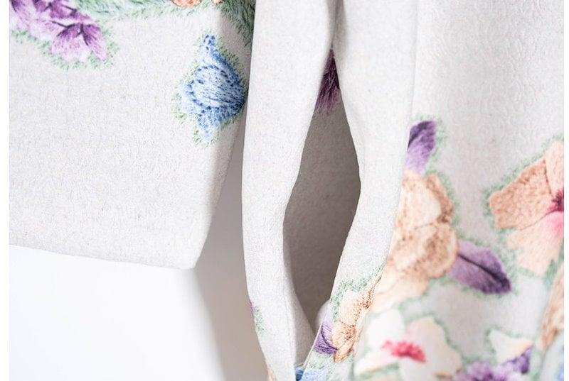 『韓国製』 Blossom floral ワンピース「大きいサイズ 大人・結婚式・ 黒 フレア・ママワンピ・黒Aライン、シャツ・コットン フォーマル
