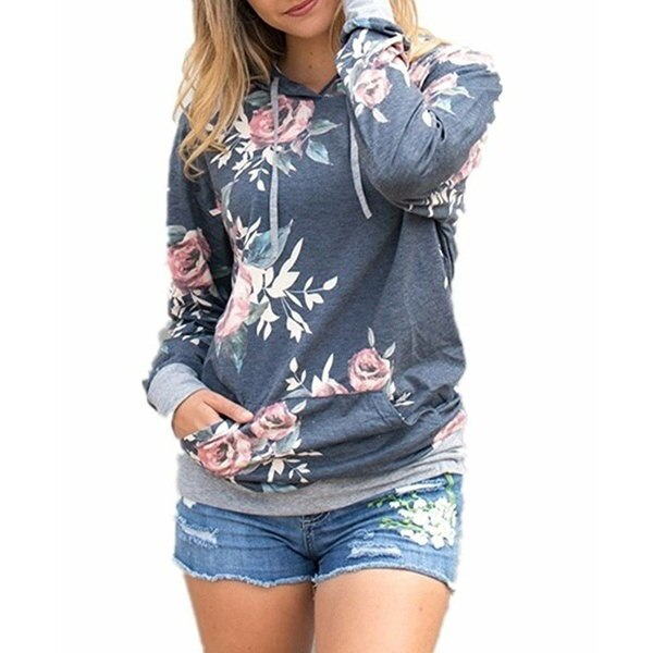 女性のファッションロングスリーブ花柄プリントプルオーバーパーカーポケット付きパーカ