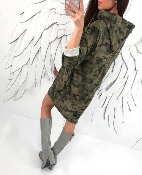 ファッション女性パーカースウェットシャツガールズカモカラープルオーバースポーツアウトドアスウェット膝丈ドクター