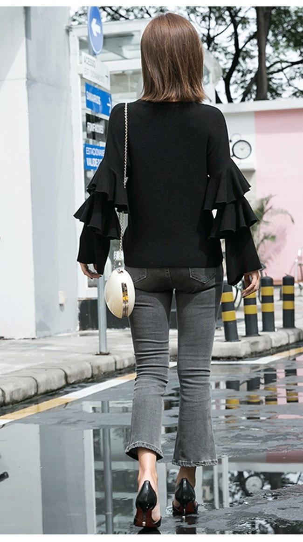 レディース 女性 韓国風 ファッション トップス ニット オーバー プルオーバー セーター カットソー ベーシック カジュアル OL 無地 丸襟  ノーカラー 抜け感 シンプル 編み糸 ワイド袖