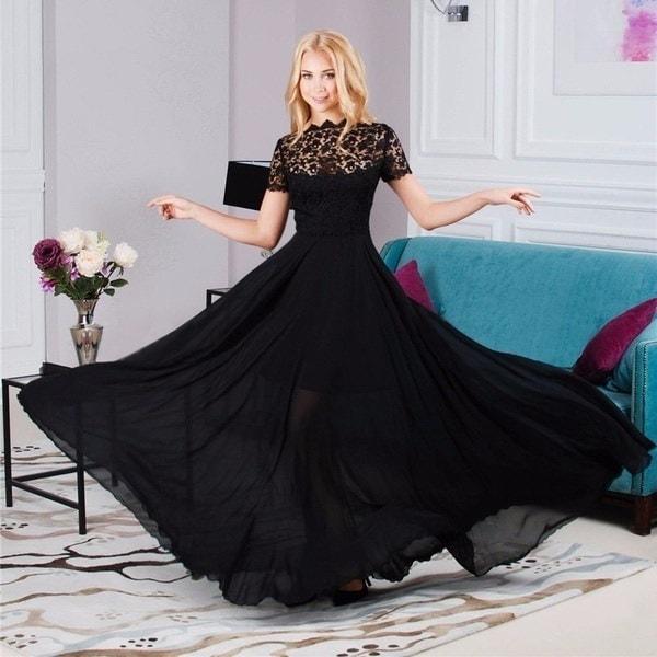 ホットプラスサイズセクシーな女性マキシドレスシフォンレースプリントOネックドレス