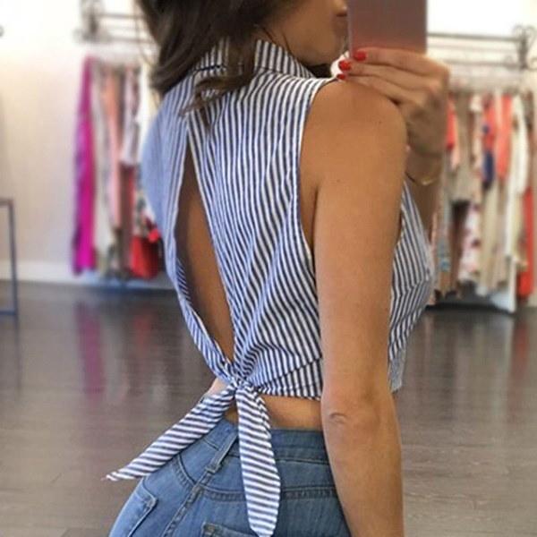 夏の女性セクシーな作物トップブルーストライプノースリーブファッションショートシャツブラウス