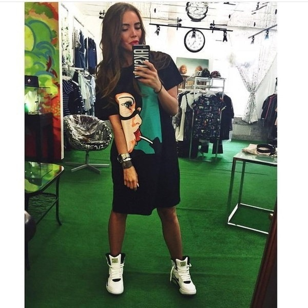 Fashion Lollipop mori girl print funny emoji pocket side split plus size work sport long skater tee