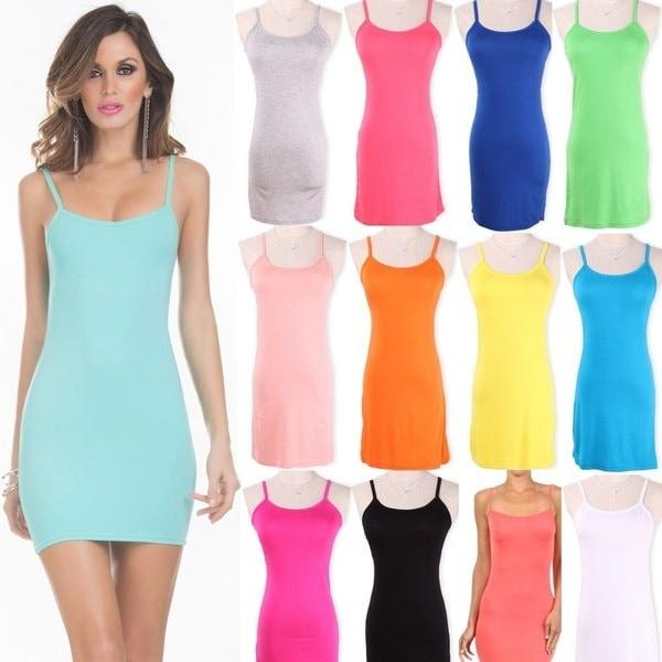 レディースキャミソールスパゲッティストラップロングタンクトップレイヤーミニラップドレス夏レギュラーワンサイズ