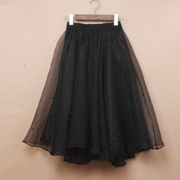 2015年春夏新ロングスカートビーズウエスト弾性ソリッドレディースユージンツツスカート糸黒ivor