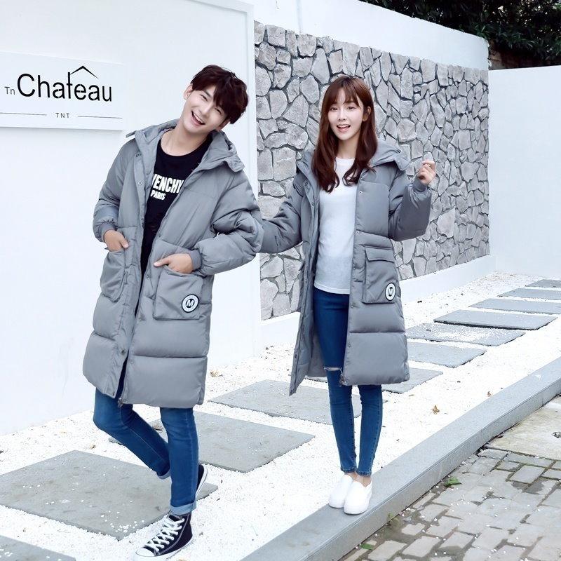 2016新入生パン恋人がダウンレディースロングコートジャケットコットンメンズの韓国の増粘を着用してください