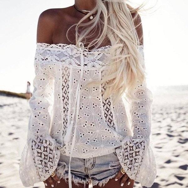 夏の女性セクシーな白い刺繍レース作物トッププラスサイズClubwearフレアスリーブ服